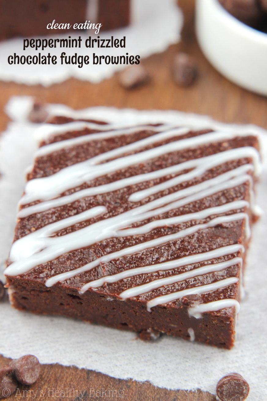 Peppermint Drizzled Chocolate Fudge Brownies - Recipe Chocolate Drizzle