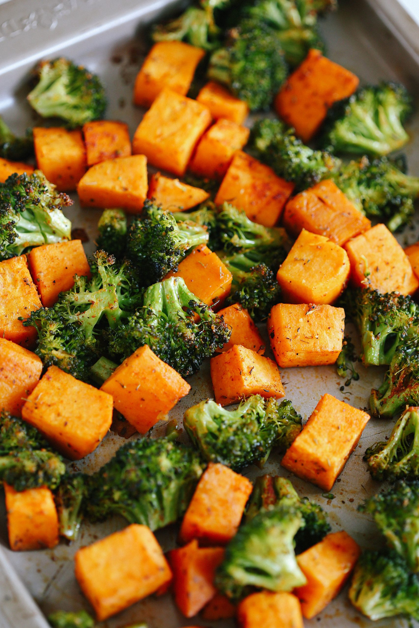 Perfectly Roasted Broccoli & Sweet Potatoes - Recipes Vegetable Side Dishes