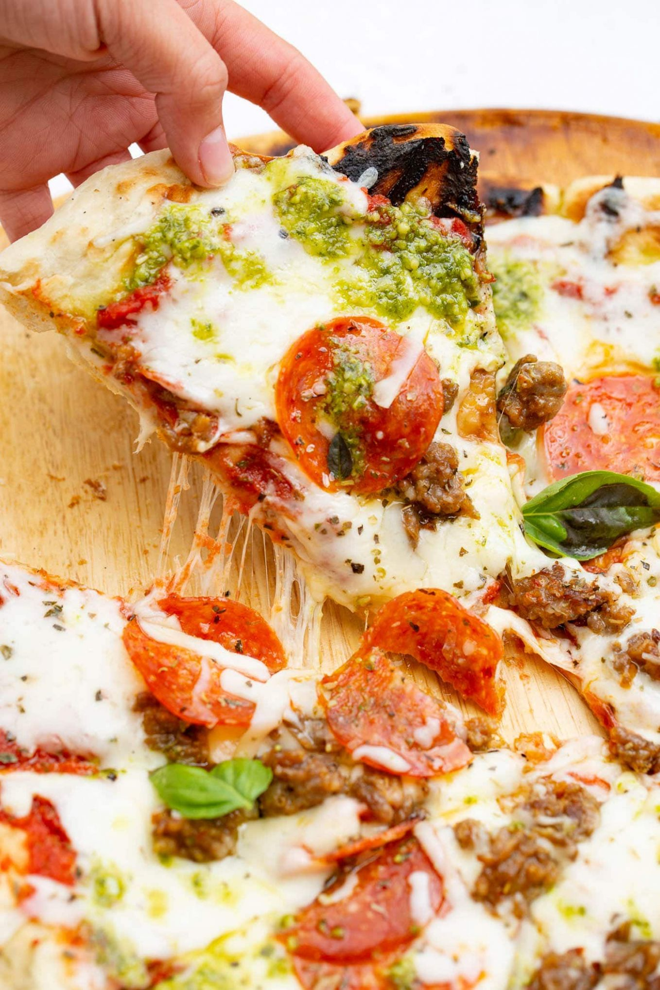 Pesto Pepperoni and Sausage Grilled Pizza