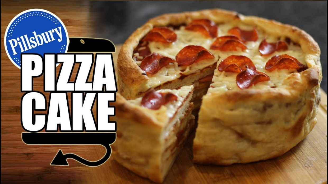 Pillsbury Pepperoni Pizza Cake Recipe - HellthyJunkFood - Recipes With Refrigerated Pizza Crust