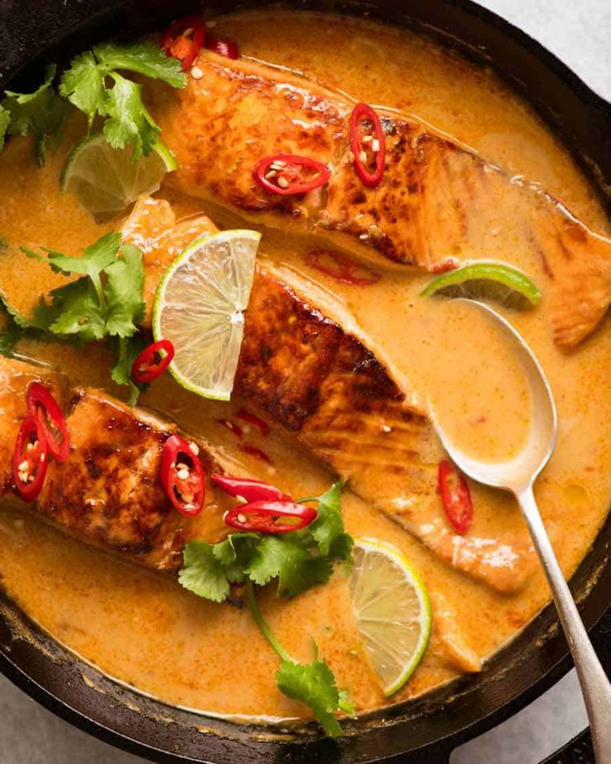 Poached Salmon in Coconut Lime Sauce | RecipeTin Eats