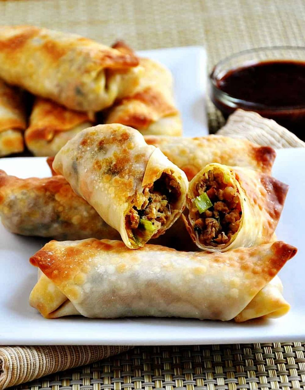 Pork and Vegetable Crispy Baked Egg Rolls - Pinch and Swirl - Recipes Using Egg Roll Wrappers Baked