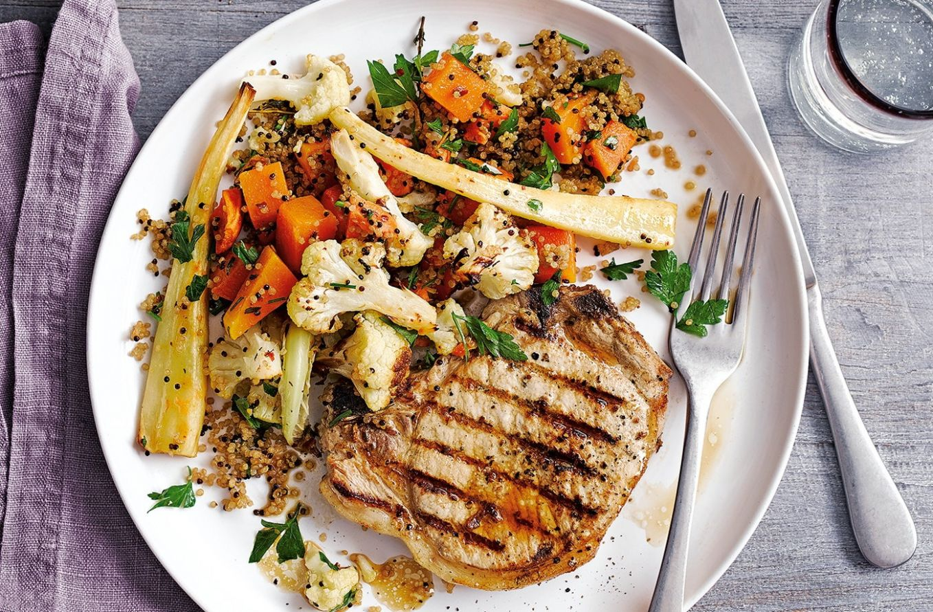Pork chops with winter veg quinoa