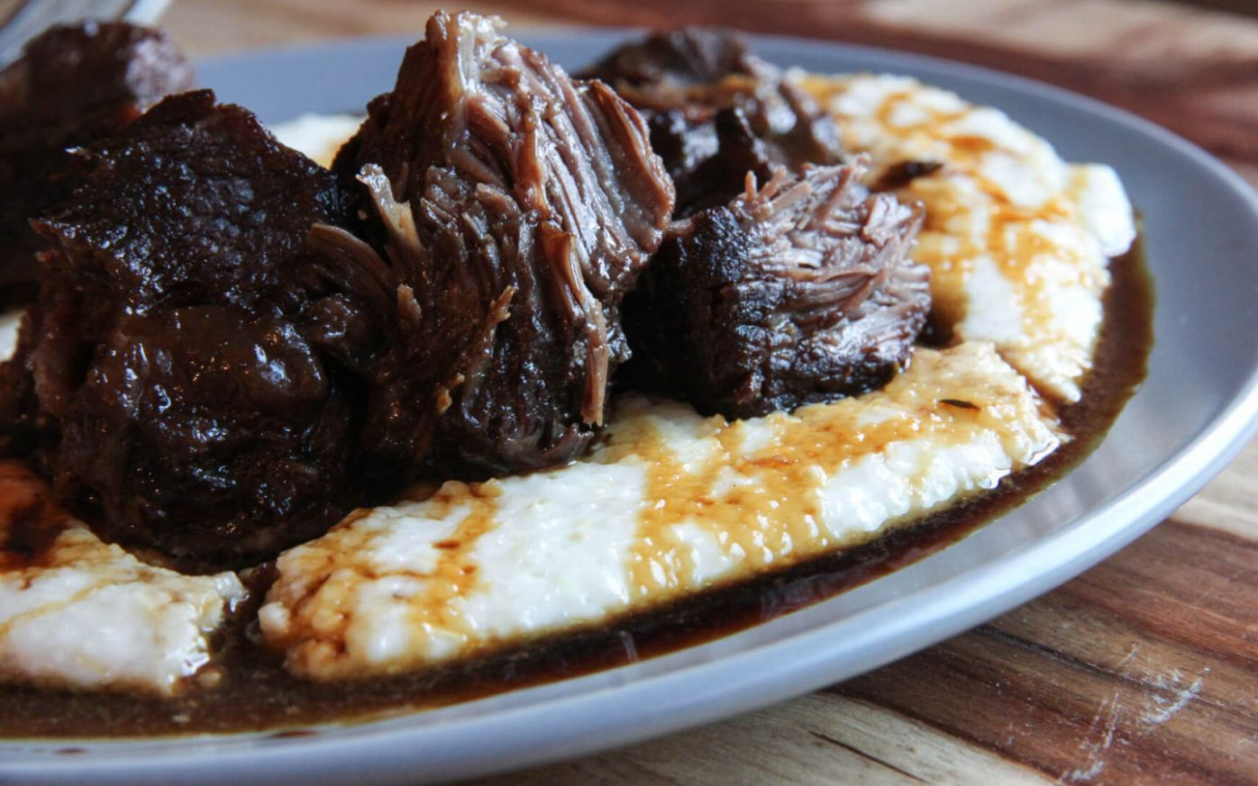Porter braised beef cheek with grits & sorghum syrup - Recipes Beef Cheeks