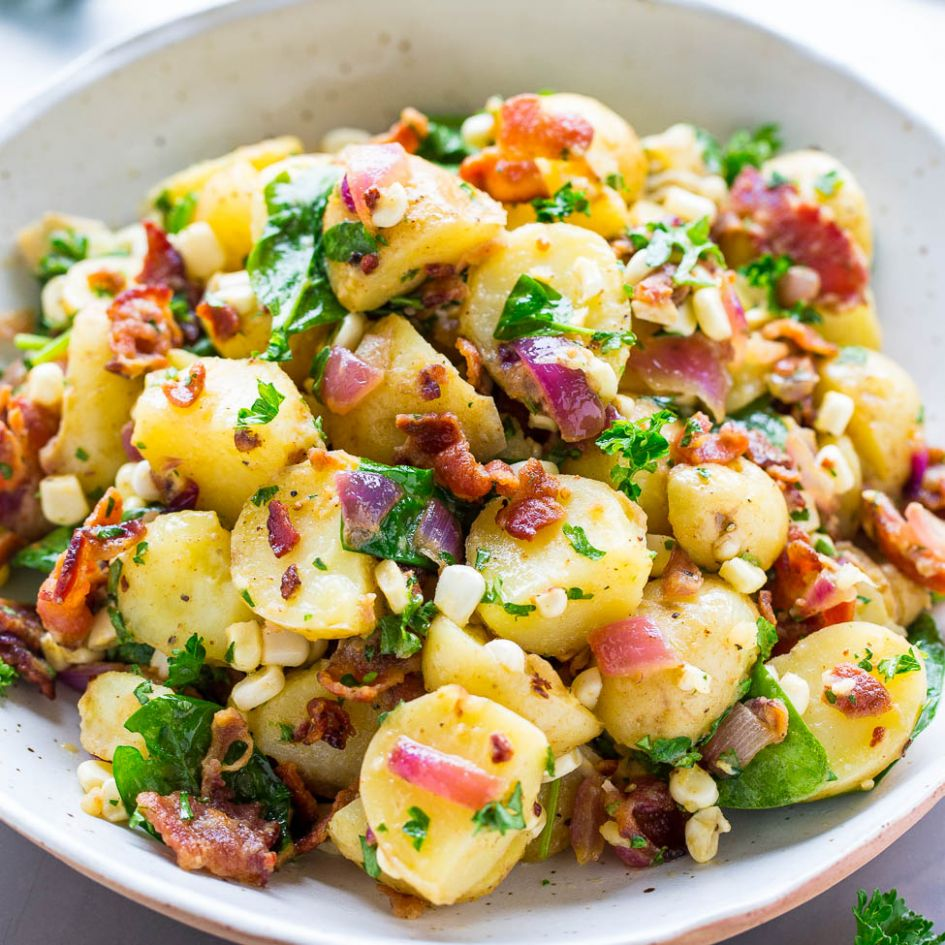 Potato Salad with Bacon (No Mayo!) - Averie Cooks - Recipes Potato Salad With Bacon