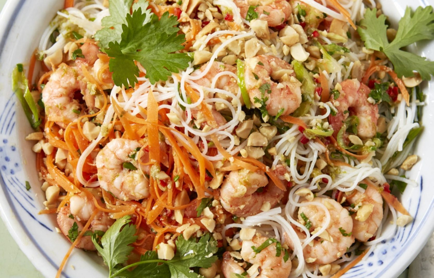 Prawn, lime, peanut and herb rice noodles | Matching Food & Wine - Recipes Rice Noodles Prawns