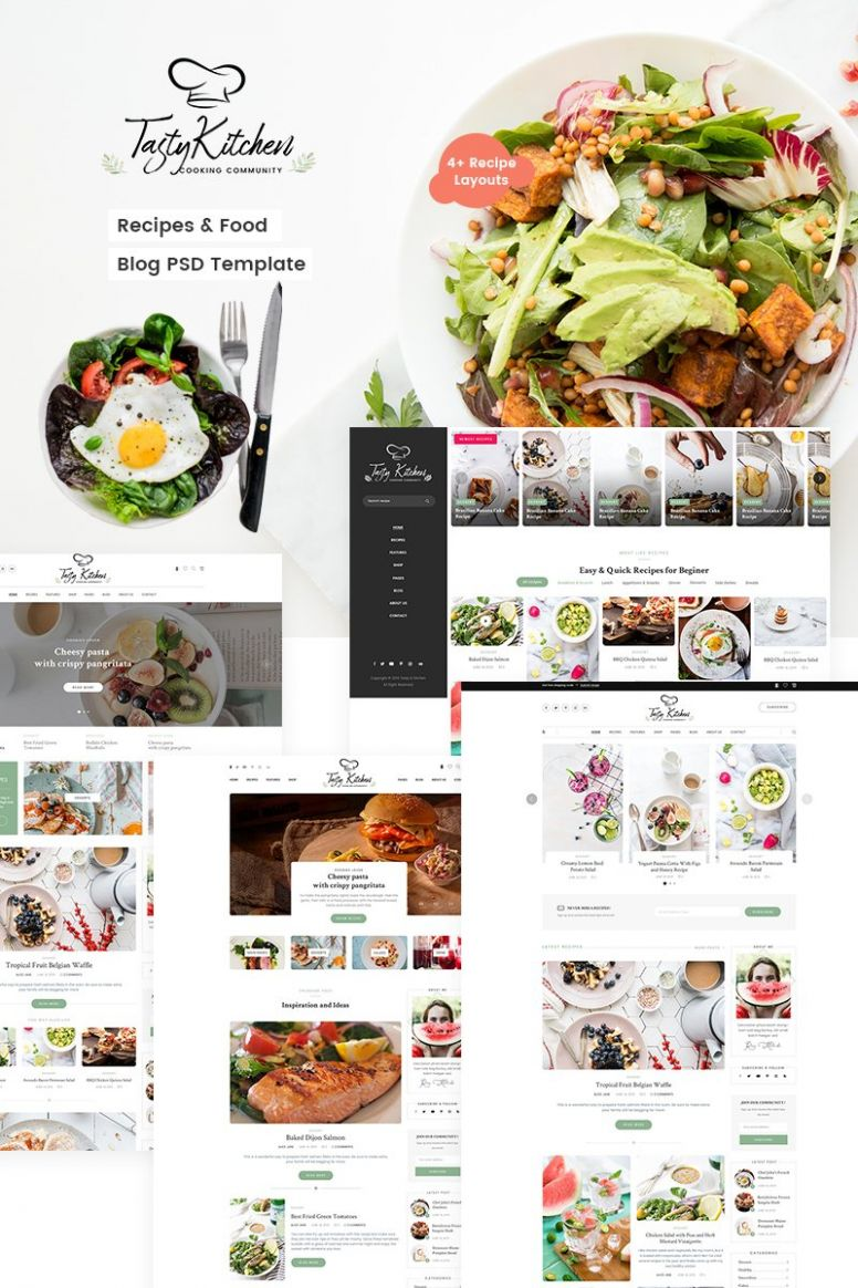 PSD Vorlage namens 'TastyKitchen - Recipes & Food Blog' #9