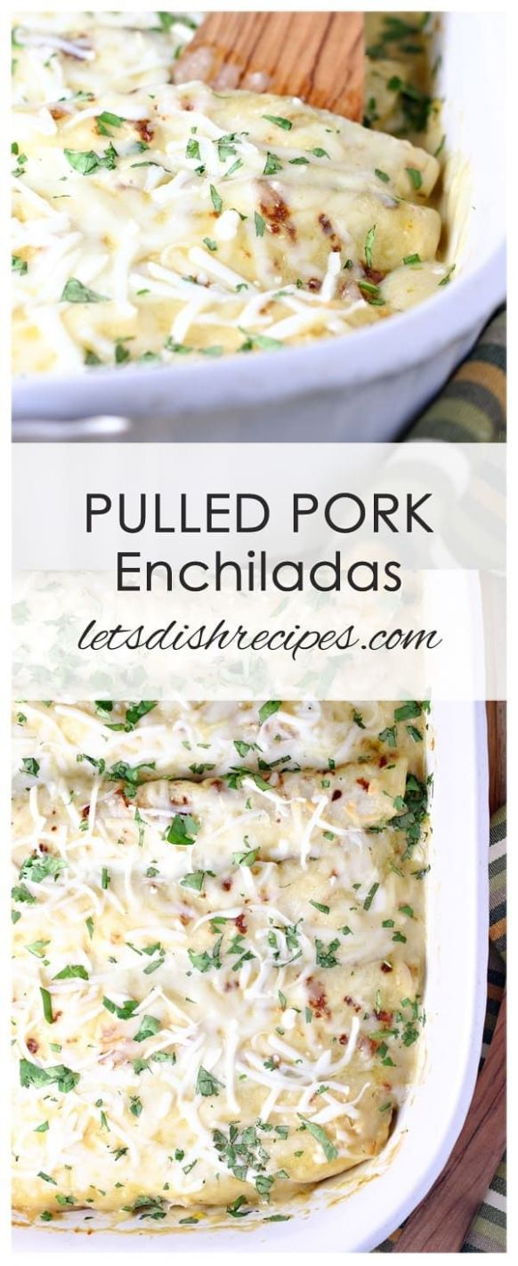 Pulled Pork Enchiladas with Creamy Green Chile Sauce - Recipe Pork Enchiladas Green Sauce