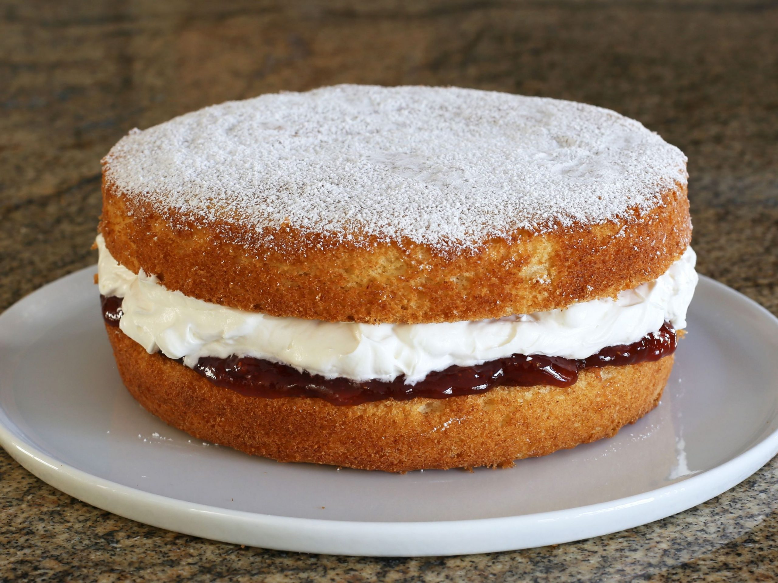 Queen Cake With Whipped Cream and Jam Filling
