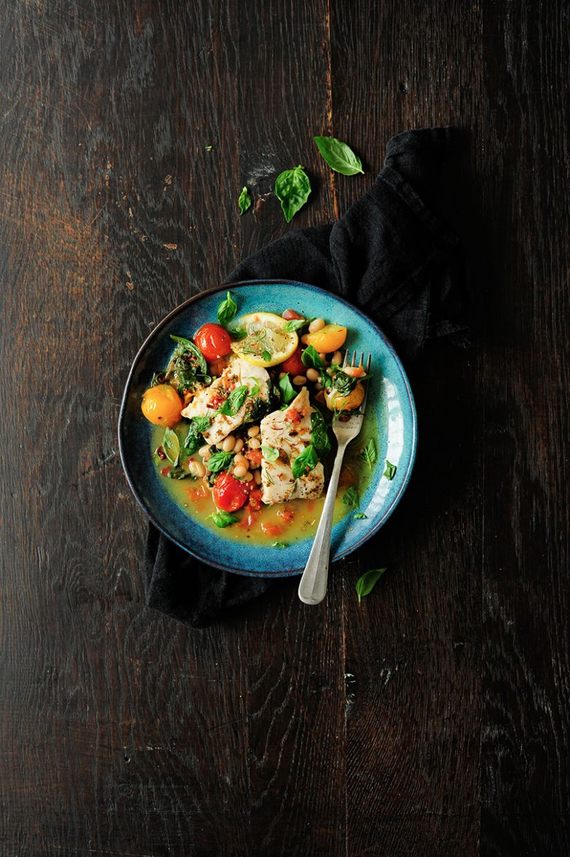 Quick braised fish with spinach and tomatoes - Recipe Fish With Spinach