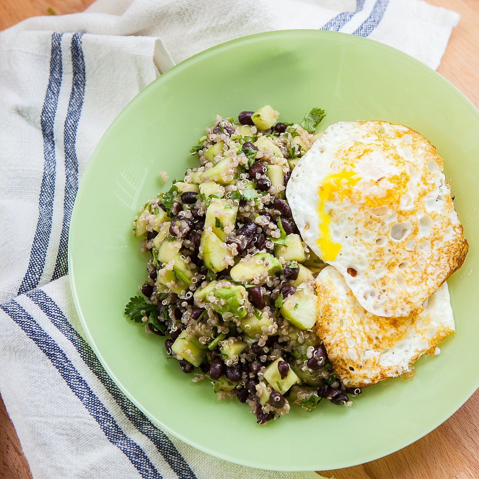 Quinoa, Black Beans, Cucumber and Avocado with Eggs