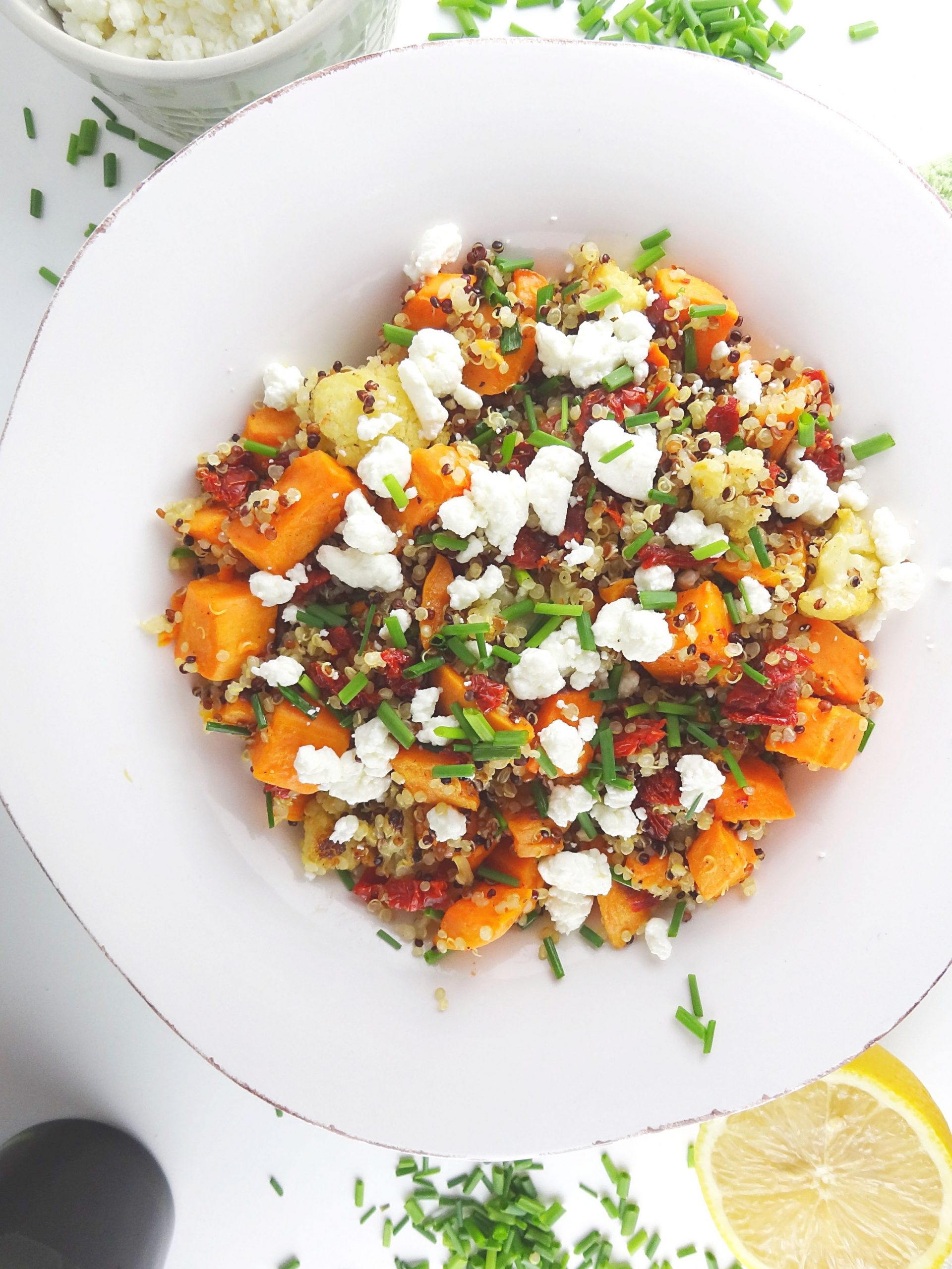 Quinoa Salad with Roasted Sweet Potatoes & Cauliflower - Recipes For Potato Quinoa Salad