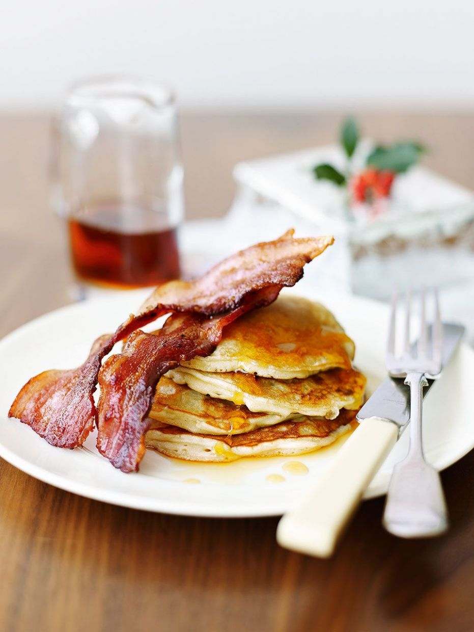Rachel Allen's pancakes with bacon and maple syrup