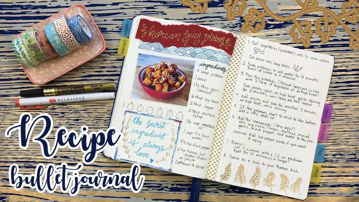 RECIPE BULLET JOURNAL - HOW TO SET UP ↬ WITH FLIP THROUGH - Recipes A Cooking Journal