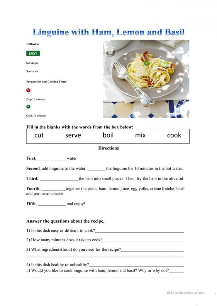 Recipe - English ESL Worksheets for distance learning and physical ...