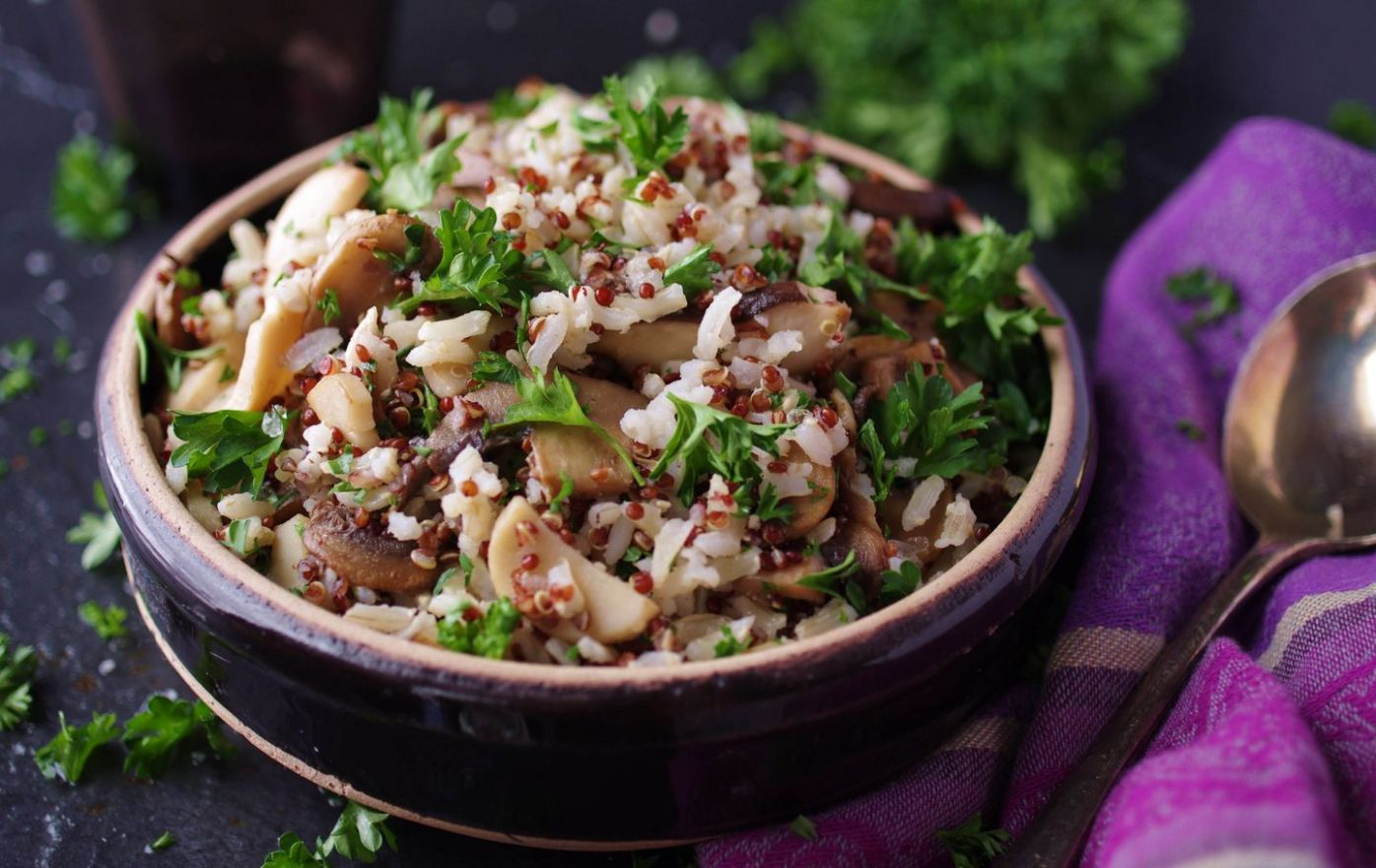 Recipe for brown rice with quinoa and sauteed mushrooms - The ...