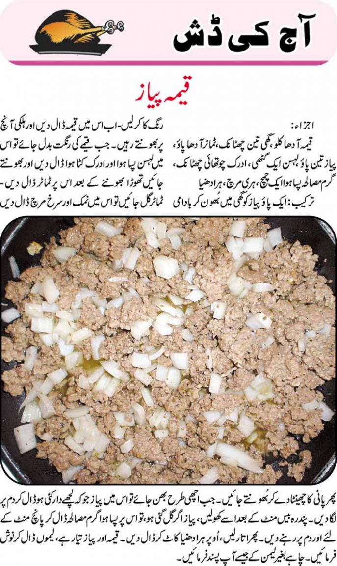 recipes: Keema Piyaz Recipe in Urdu - Urdu Recipes Of Keema