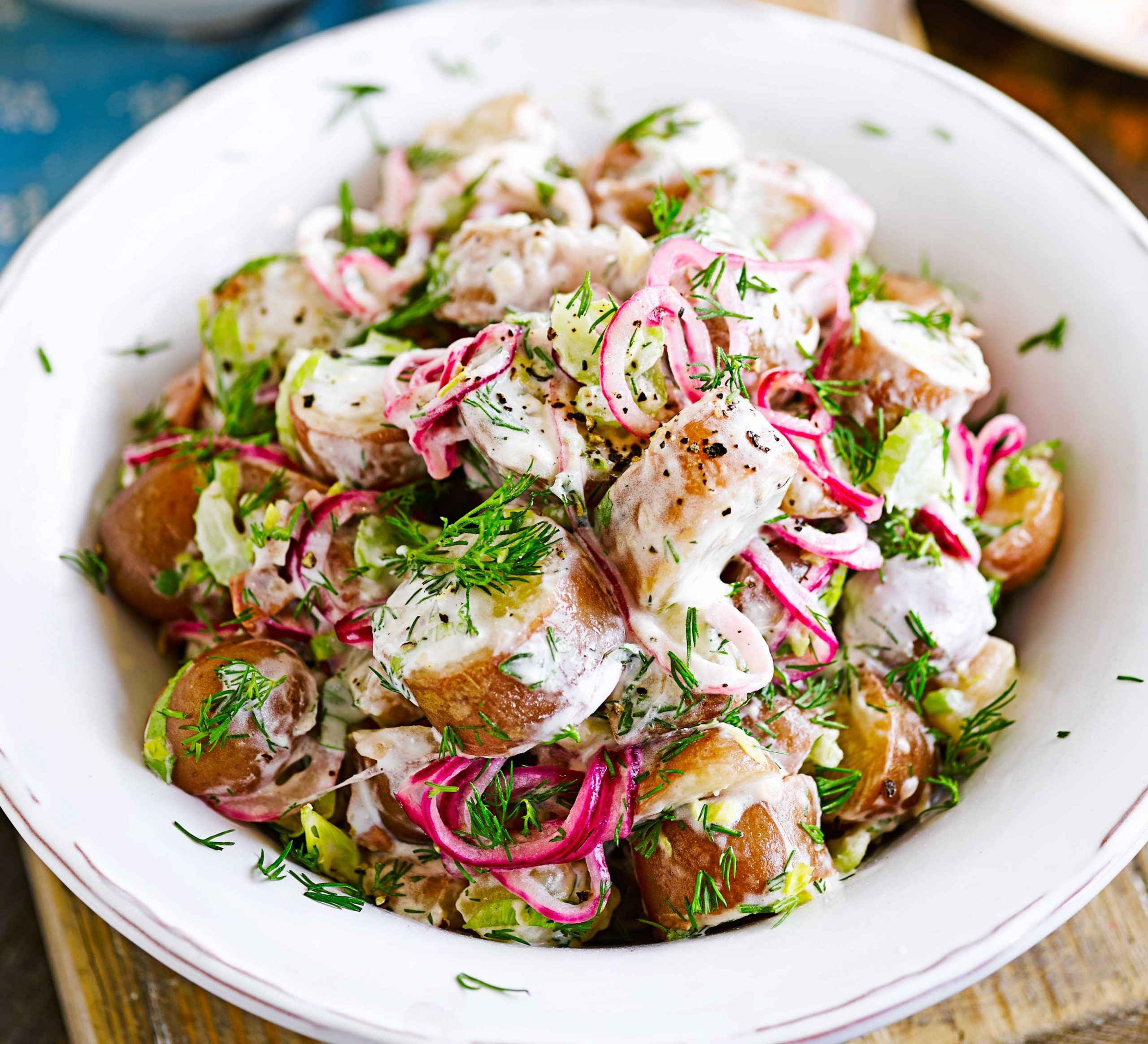 Red & white potato salad with pickled onions