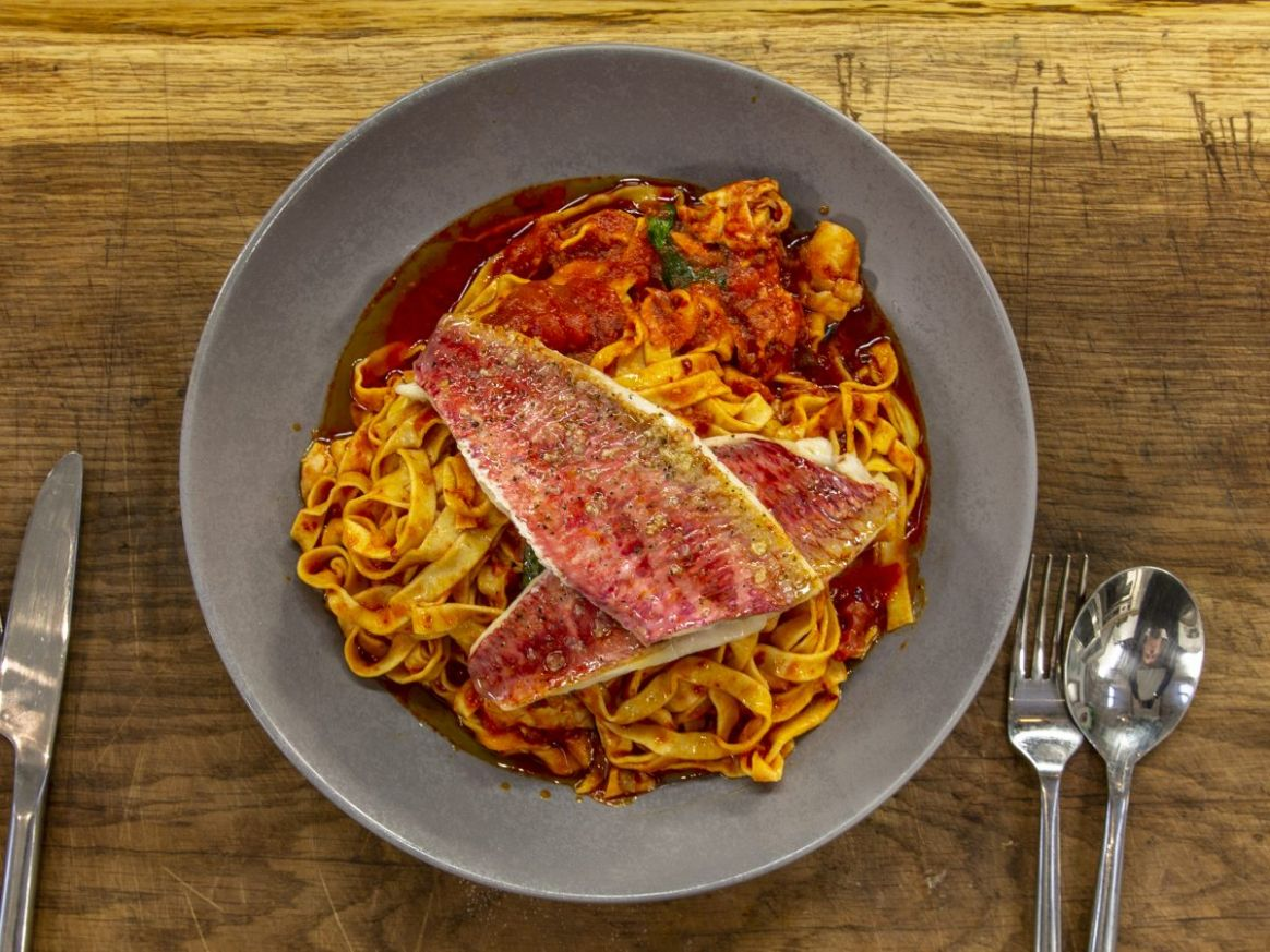 Red Mullet with Nduja Pasta | James Martin Chef - Pasta Recipes James Martin