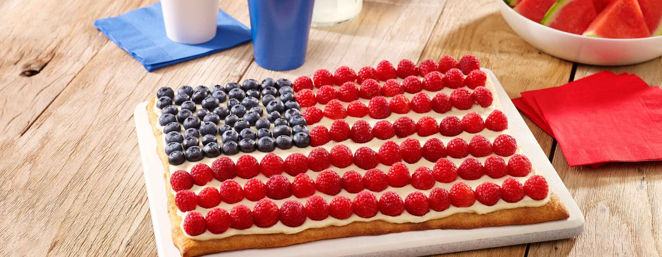 Red White and Blue Dessert Fruit Pizza - Dessert Recipes Red White Blue