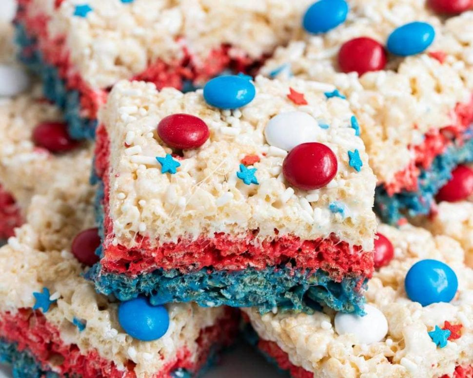 Red White and Blue Rice Krispie Treats - Dessert Recipes Red White Blue