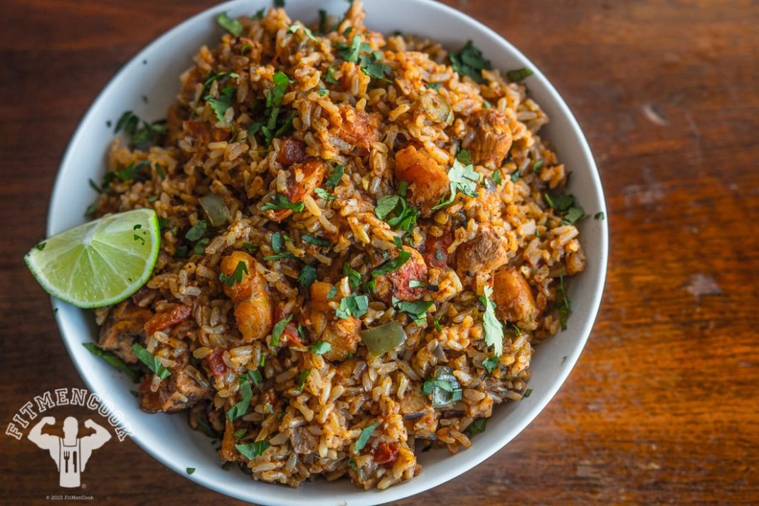 Rice Cooker Spanish Rice with Chicken & Shrimp - Fit Men Cook