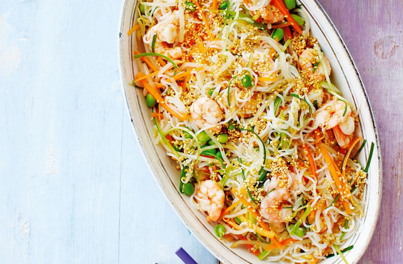 Rice noodle salad with quick kimchee - Recipes Rice Noodles Prawns