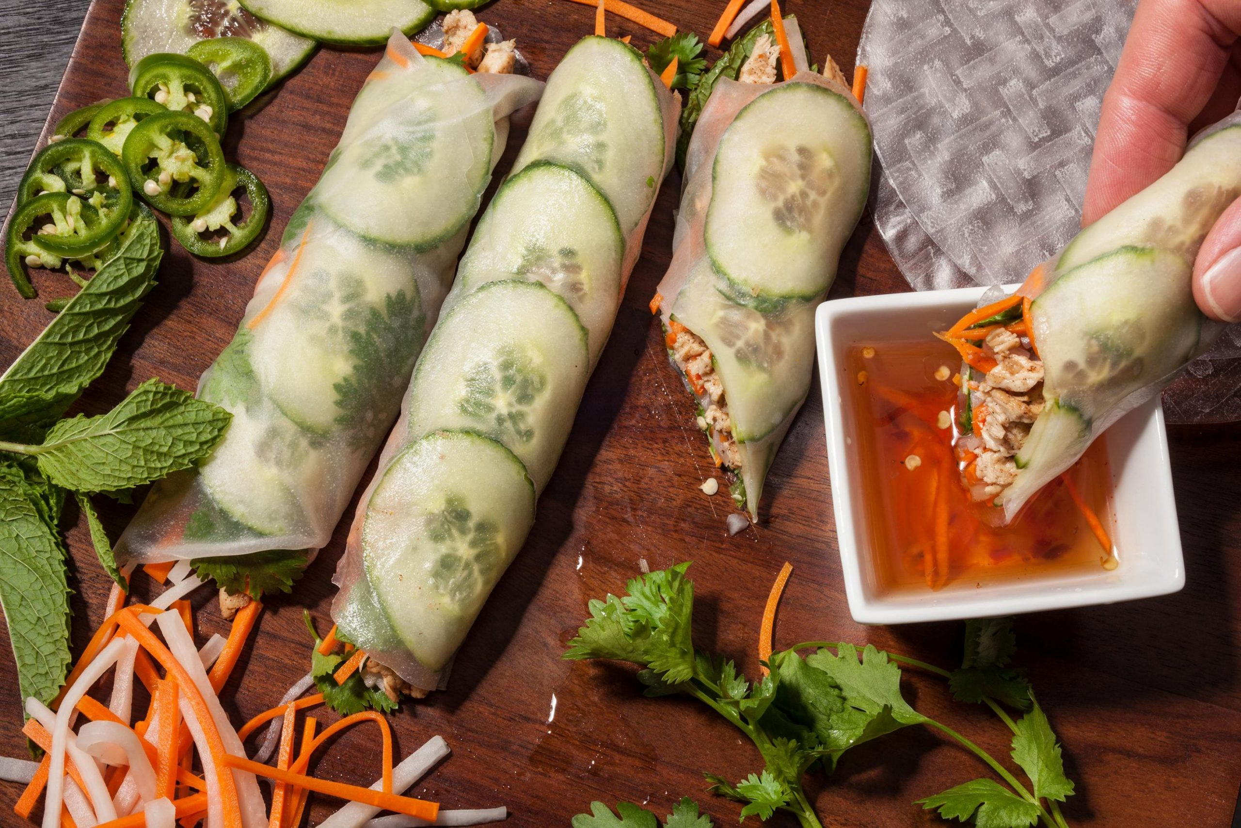 Rice Paper Banh Mi with Five-Spice Chicken - Recipes Rice Paper Wraps