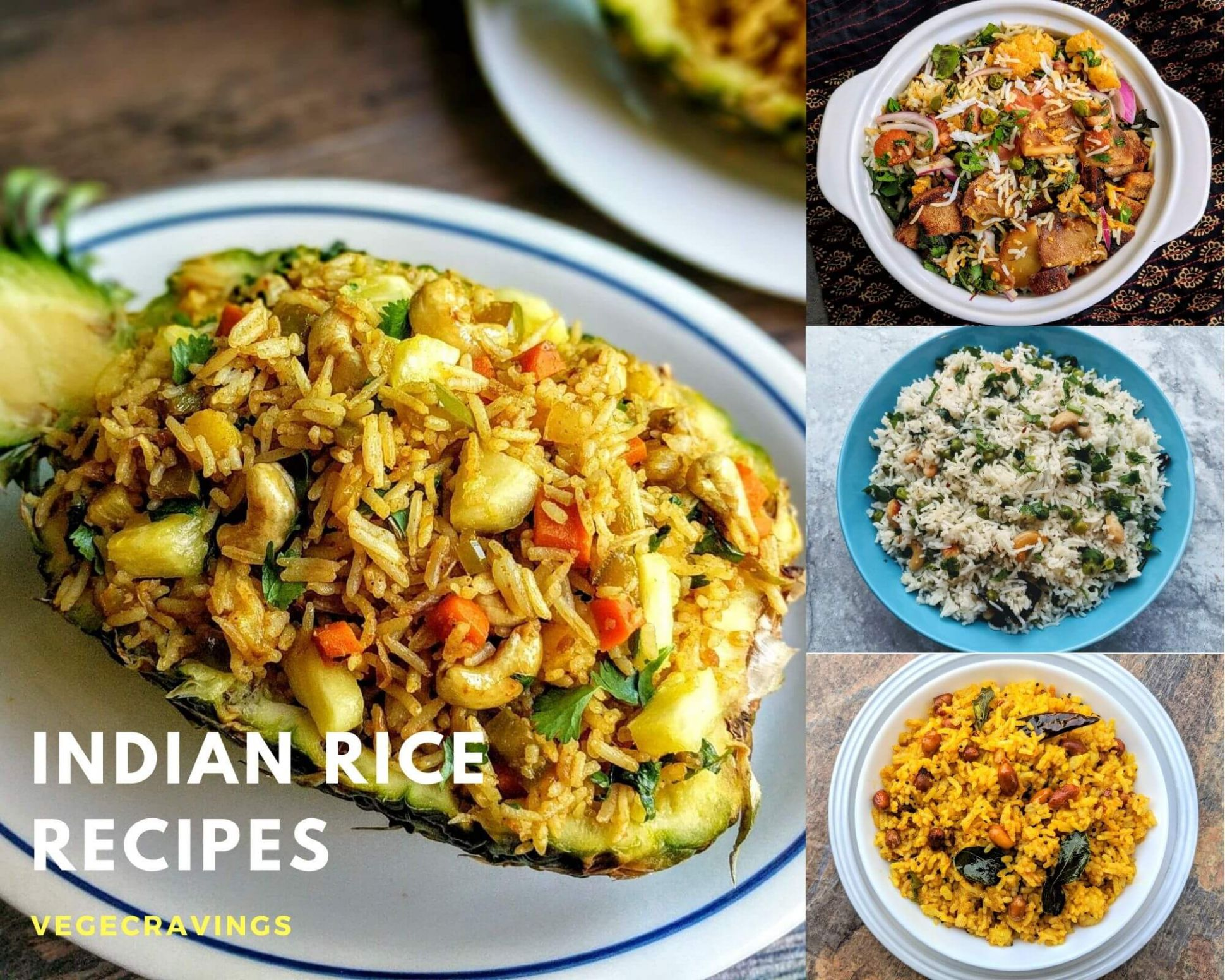 Rice Recipes | List of 8 Veg Rice Recipes | VegeCravings - Breakfast Recipes Rice Items