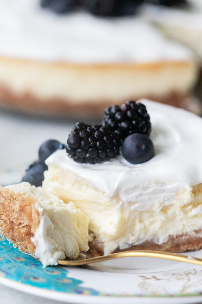 Ricotta Cheesecake with Whipped Sour Cream Topping - Dessert Recipes Ricotta