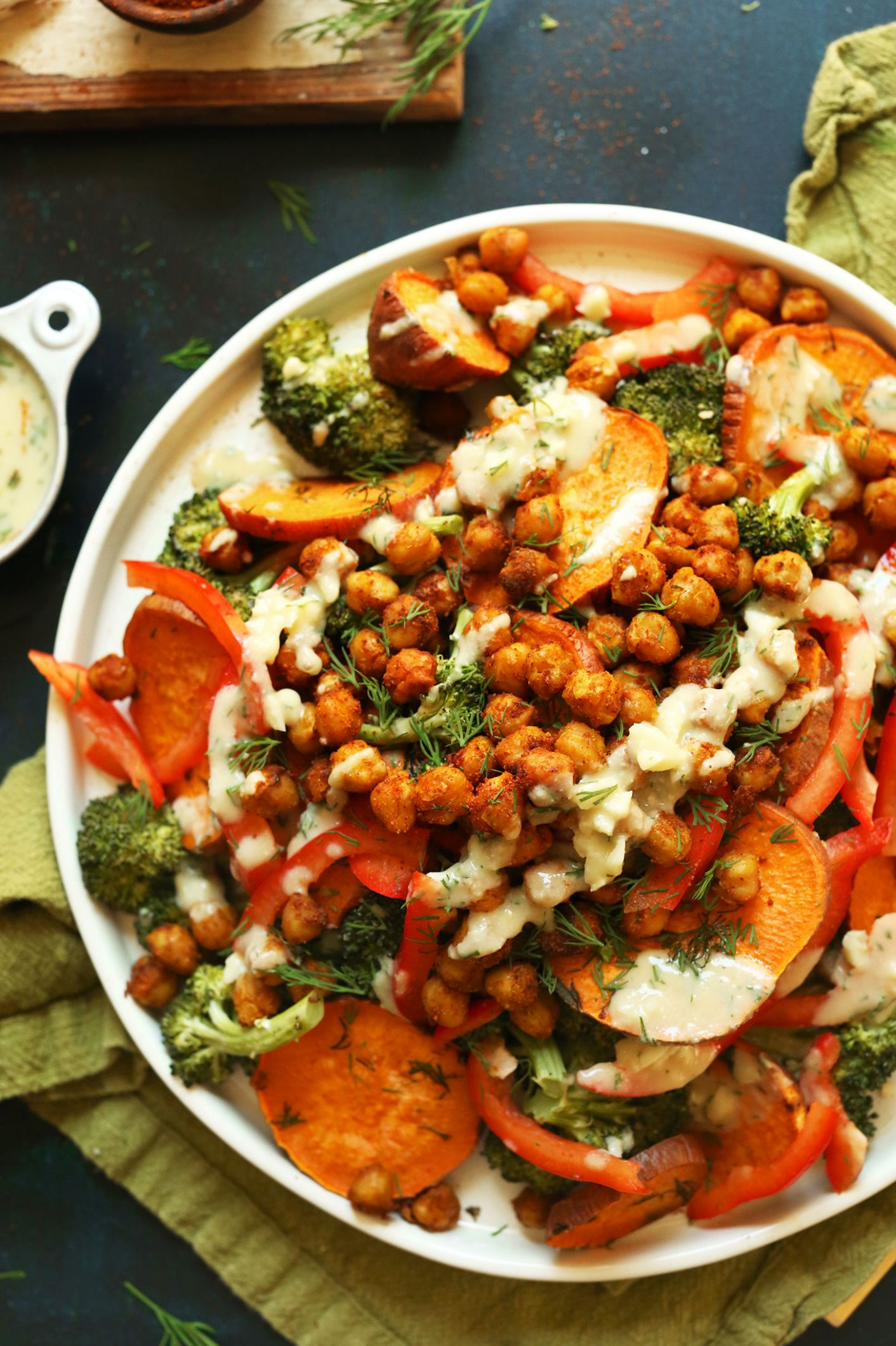 Roasted Broccoli Sweet Potato Chickpea Salad - Salad Recipes Veg For Dinner