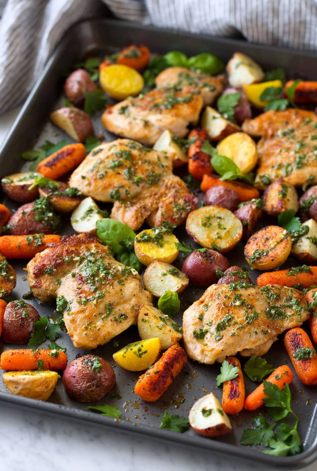 Roasted Chicken and Veggies with Garlic Herb Vinaigrette - Cooking ...
