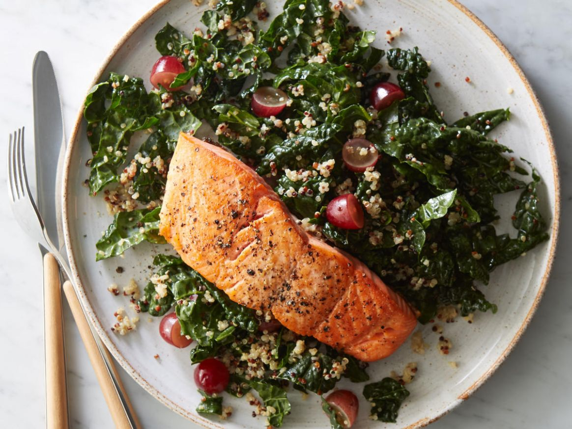 Roasted Salmon with Kale-Quinoa Salad - Dinner Recipes Kale