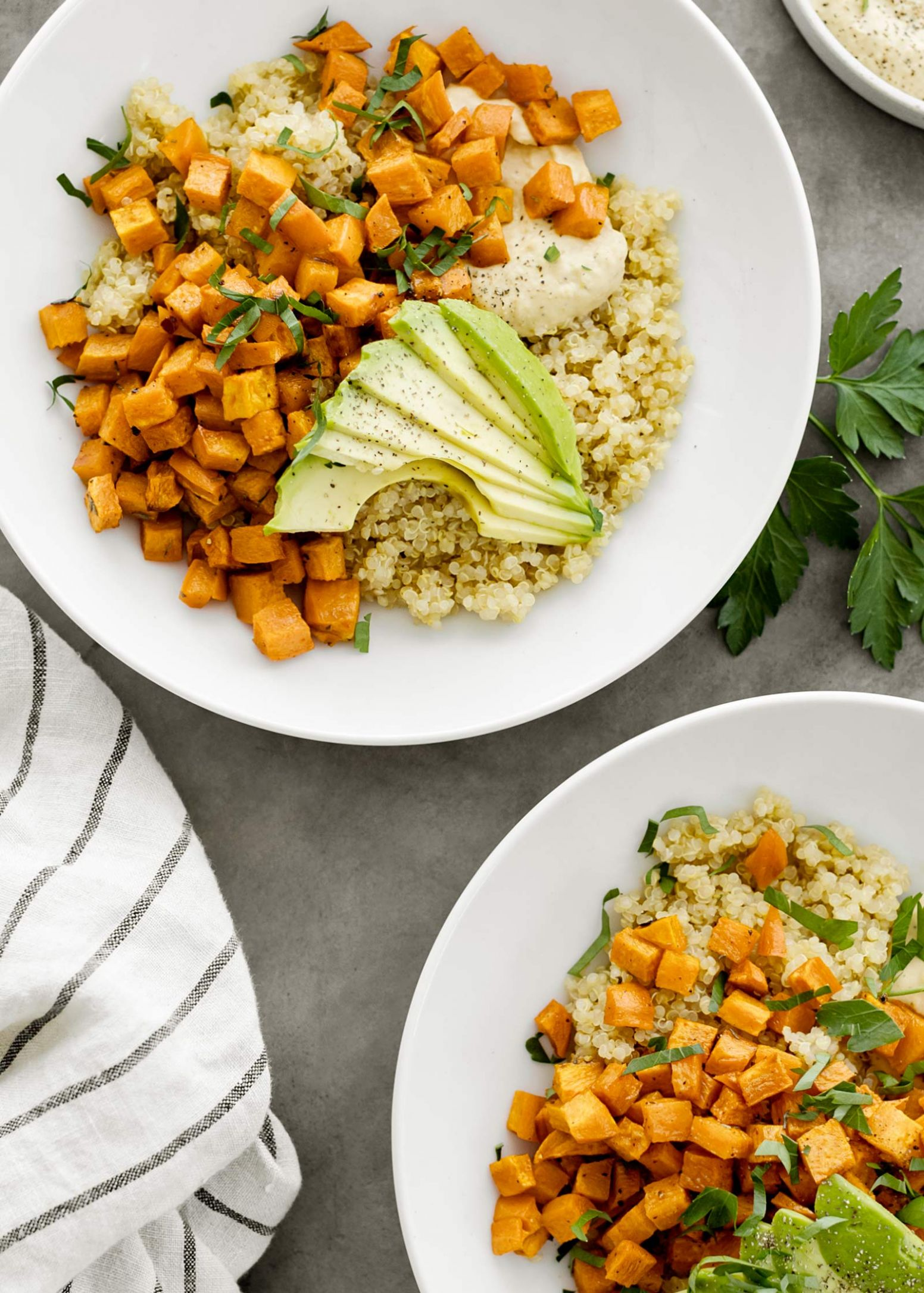 Roasted Sweet Potato Quinoa Bowls