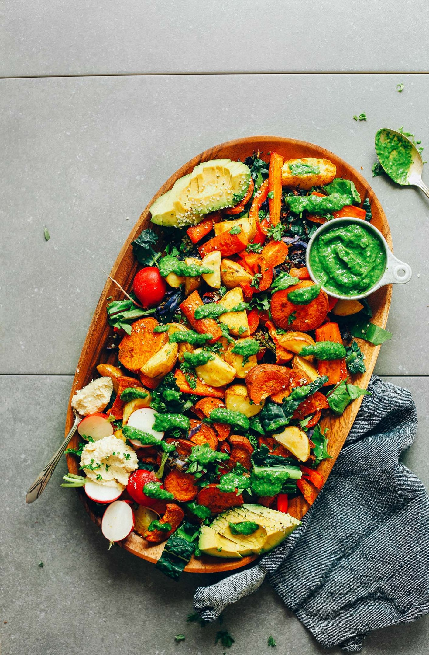 Roasted Vegetable Salad with Chimichurri - Vegetable Recipes Yummy