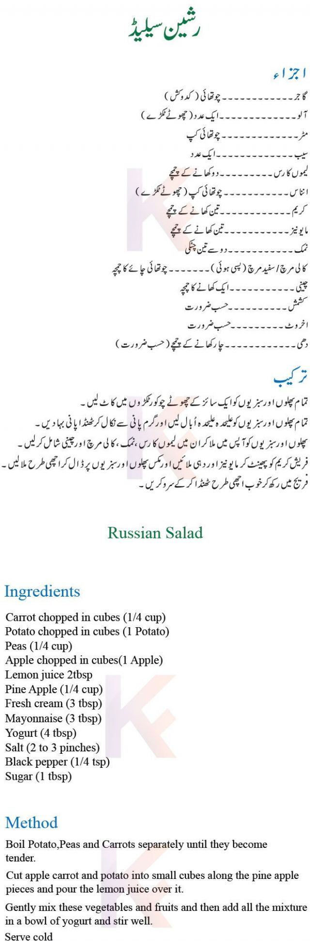 Russian Salad Step by Step Recipe | Russian salad recipe, Salad ..