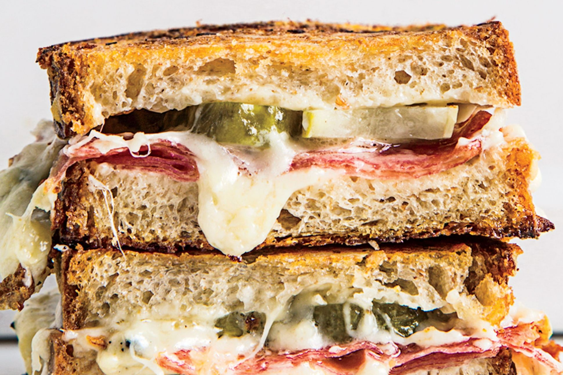 Salami and Pickle Grilled Cheese - Sandwich Recipes Epicurious