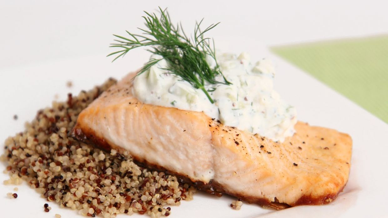 Salmon Fillets with Creamy Cucumber Dill Sauce Recipe - Laura in the  Kitchen Episode 10