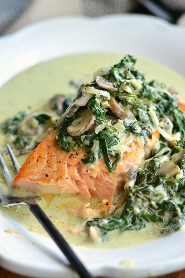 Salmon Florentine. Baked salmon and topped with creamy spinach and ...