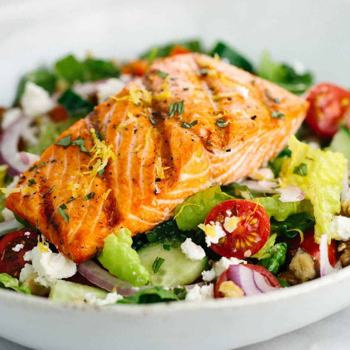 Salmon Greek Salad with Lemon Basil Dressing - Salad Recipes To Go With Fish