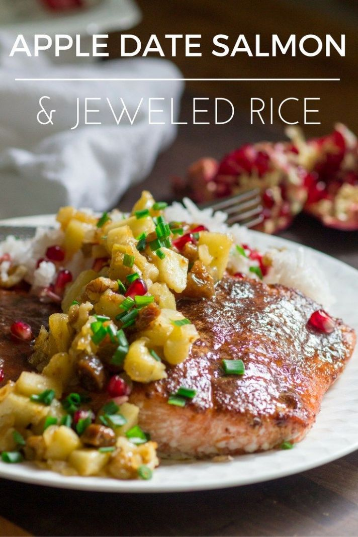 Salmon with Apple Fig Chutney and Jeweled Rice - Dinner Recipes Apple