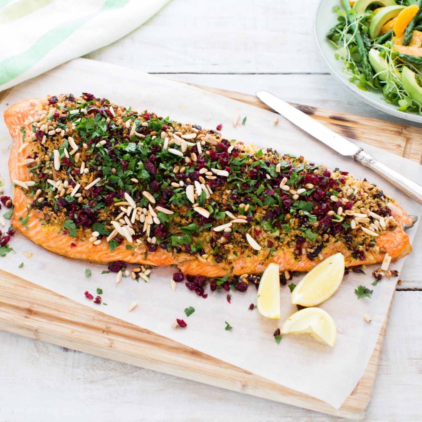 Salmon with cranberry, parsley and nut crust - Fish Recipes For Xmas