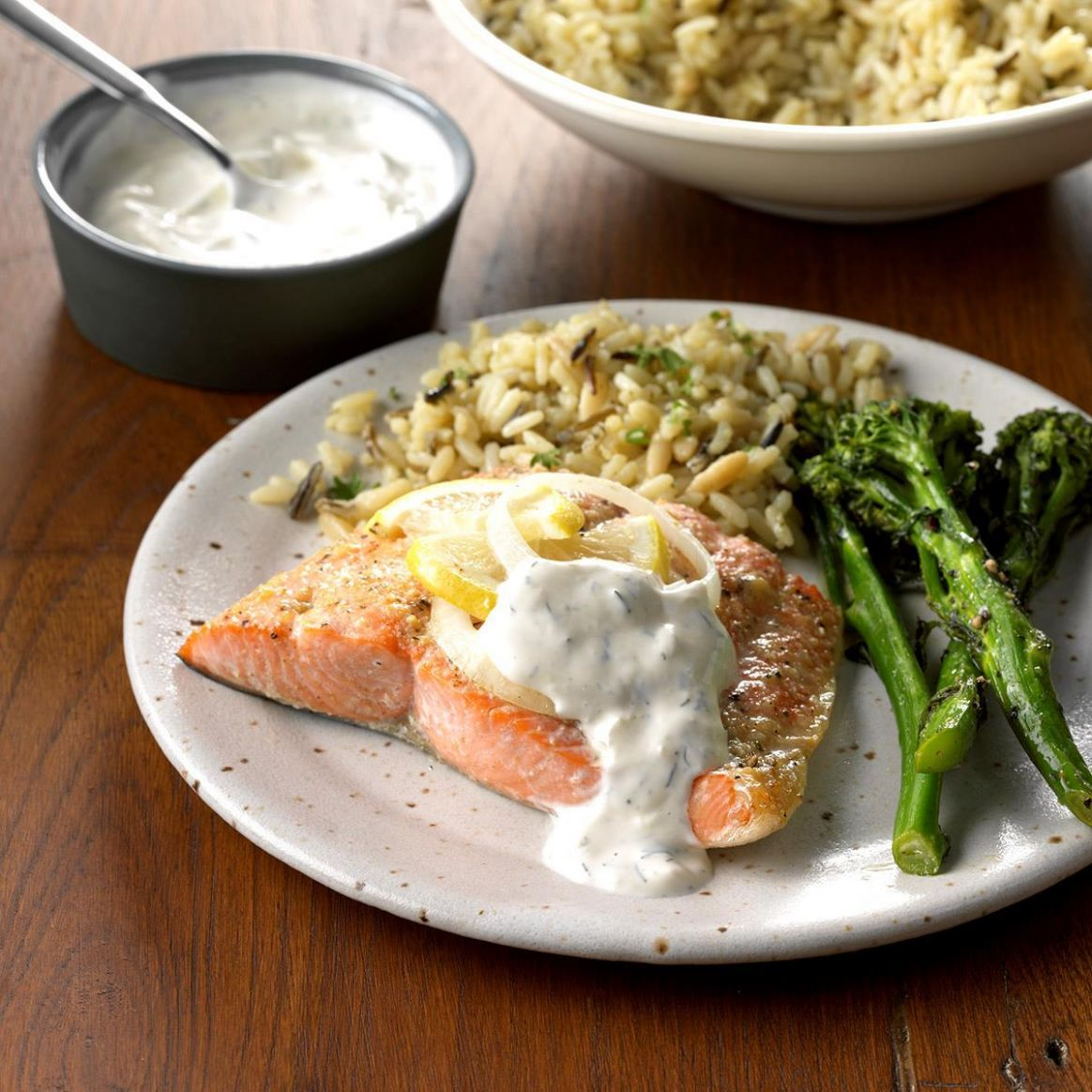 Salmon with Creamy Dill Sauce - Recipe Fish Dinner Party