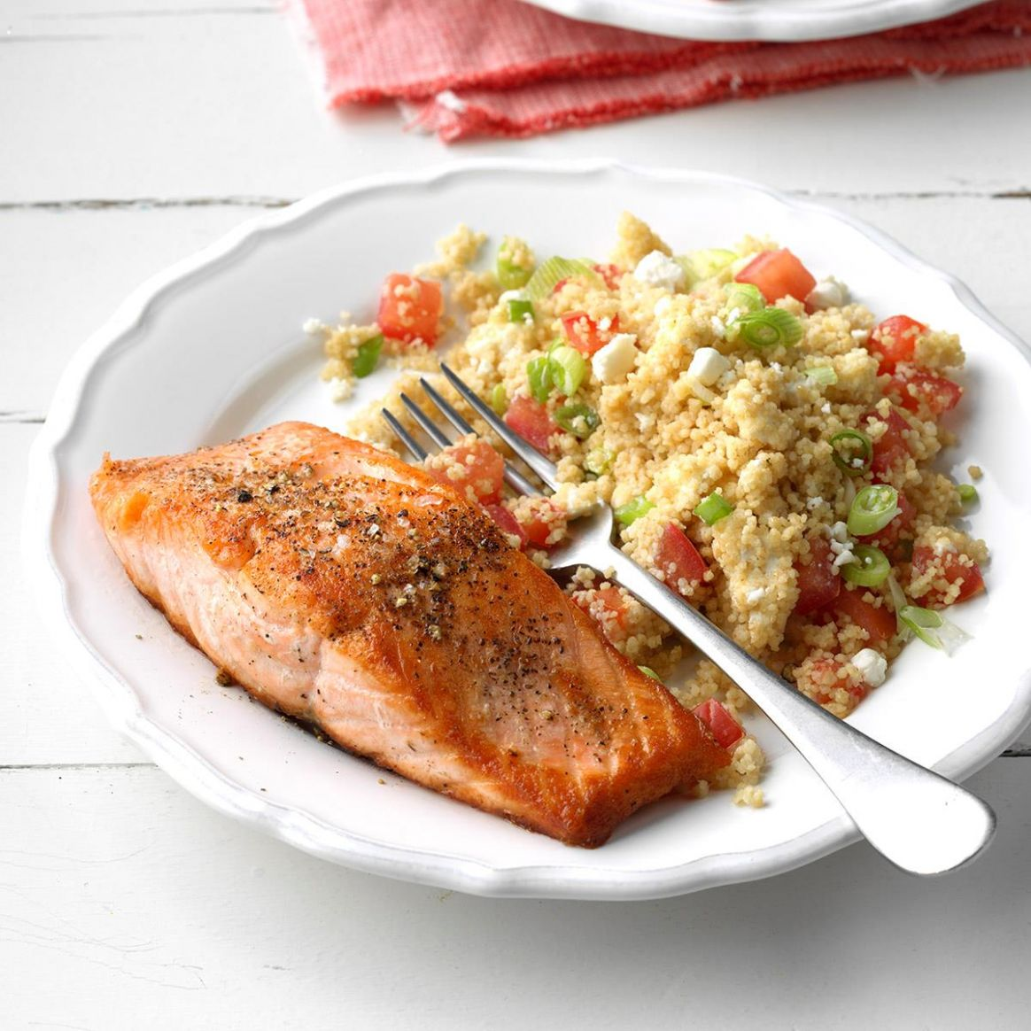 Salmon with Tomato-Goat Cheese Couscous - Dinner Recipes Fish