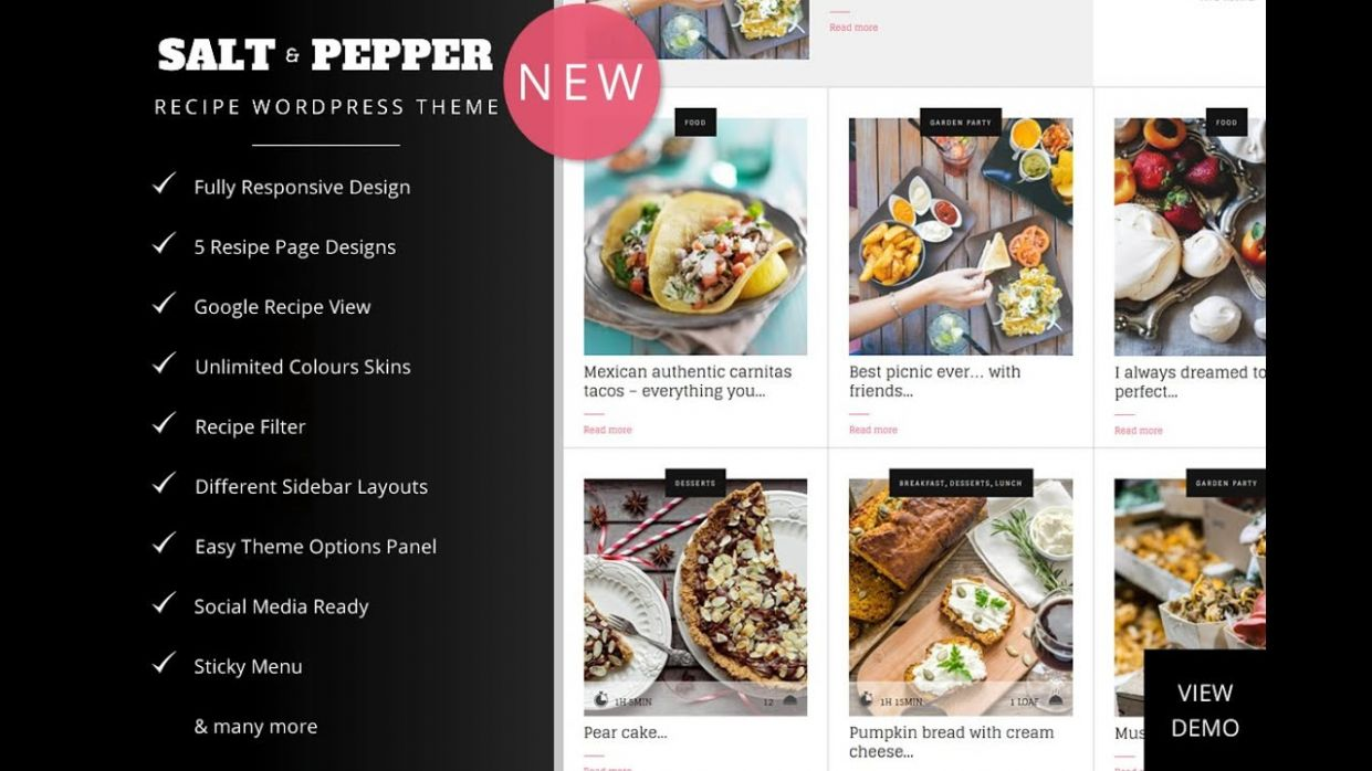 Salt & Pepper - Food Recipes Blog WordPress Theme - Food Recipes Cooking  Website Template - Easy Recipes Blog