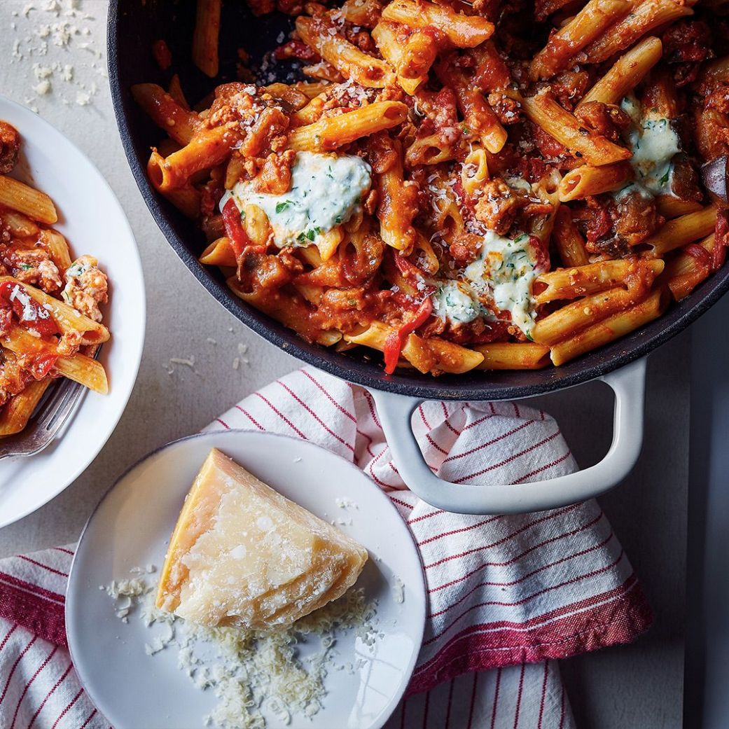 Sausage and Eggplant Penne - Easy Recipes Ricardo