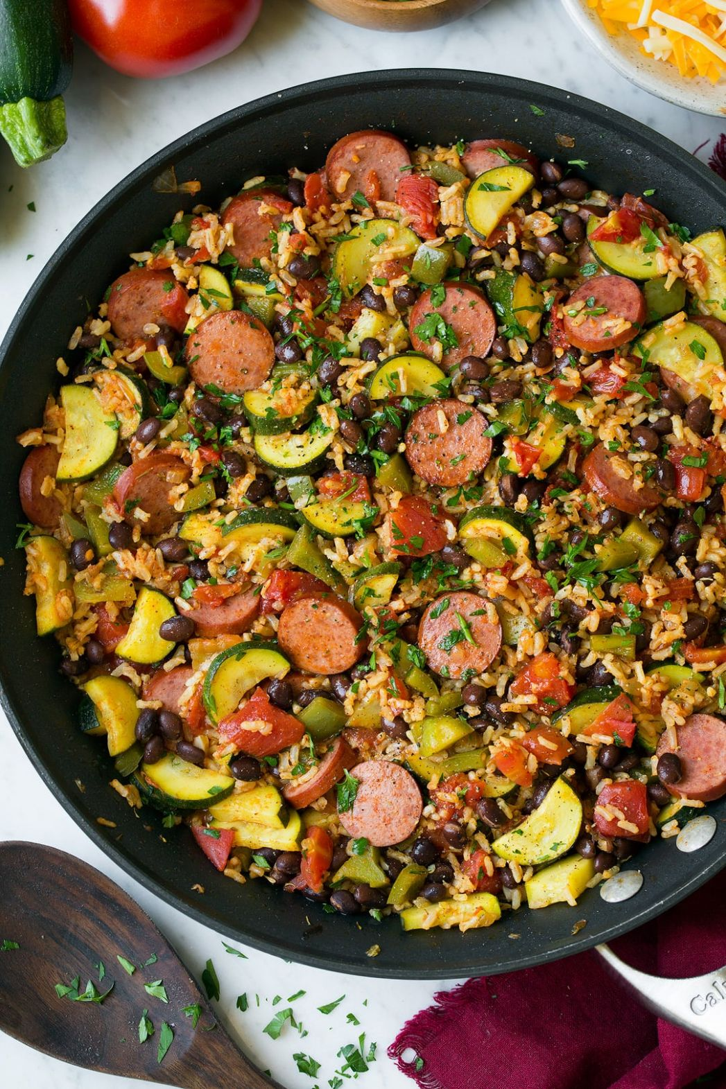 Sausage Zucchini and Brown Rice Skillet (One Pan Recipe)