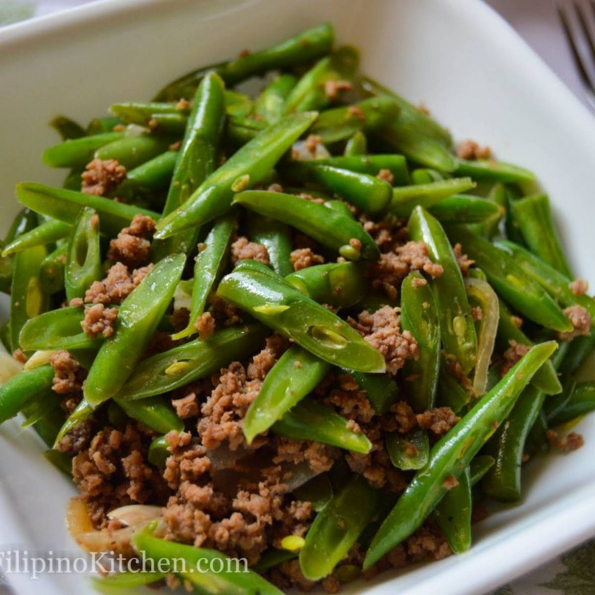 Sautéed Green Beans With Ground Beef (Filipino-style Ginisang Baguio Beans) - Vegetable Recipes Easy Pinoy