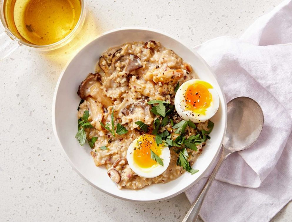 Savory Oats with Mushrooms and Egg - Recipe Egg Oats