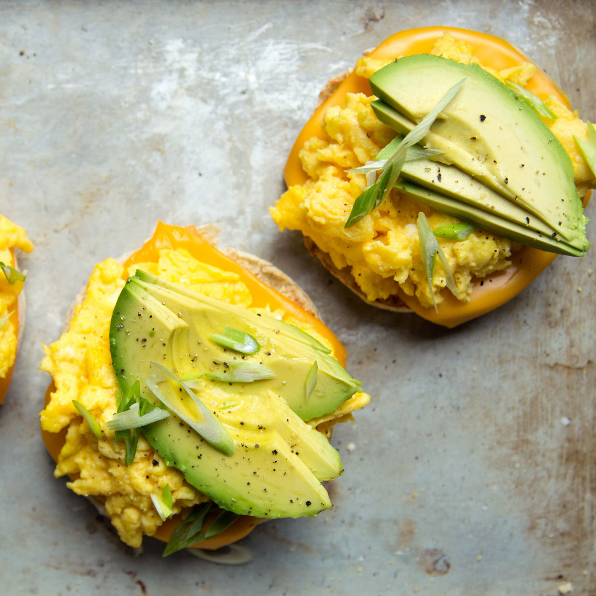 Scrambled Egg and Avocado Breakfast Sandwiches